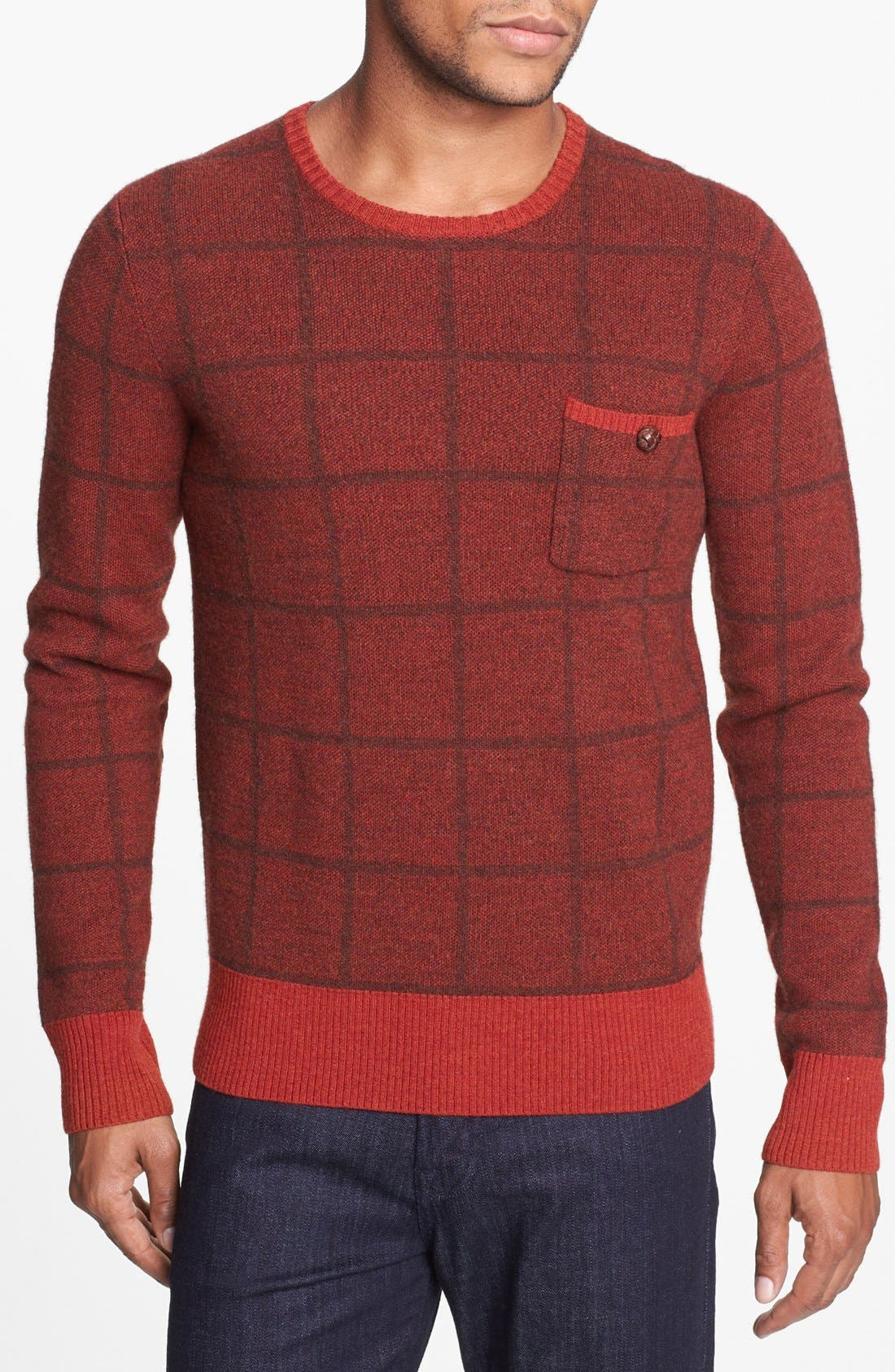 Main Image - J. Press York Street Windowpane Merino Wool Crewneck Sweater