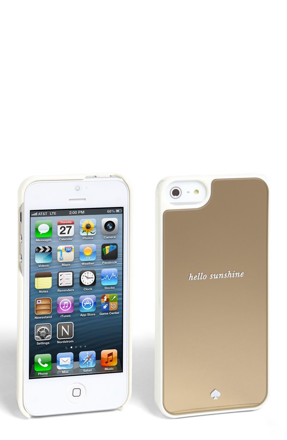'hello sunshine' iPhone 5 & 5S case,                             Main thumbnail 1, color,                             Gold Mirror