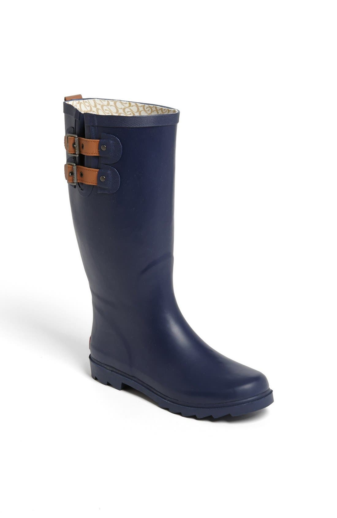 'Top Solid' Rain Boot,                             Main thumbnail 1, color,                             Navy