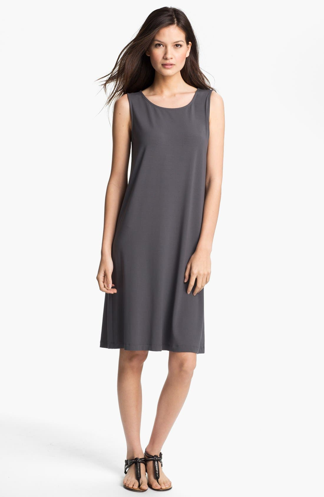 Alternate Image 1 Selected - Eileen Fisher Jewel Neck Shift Dress (Petite)