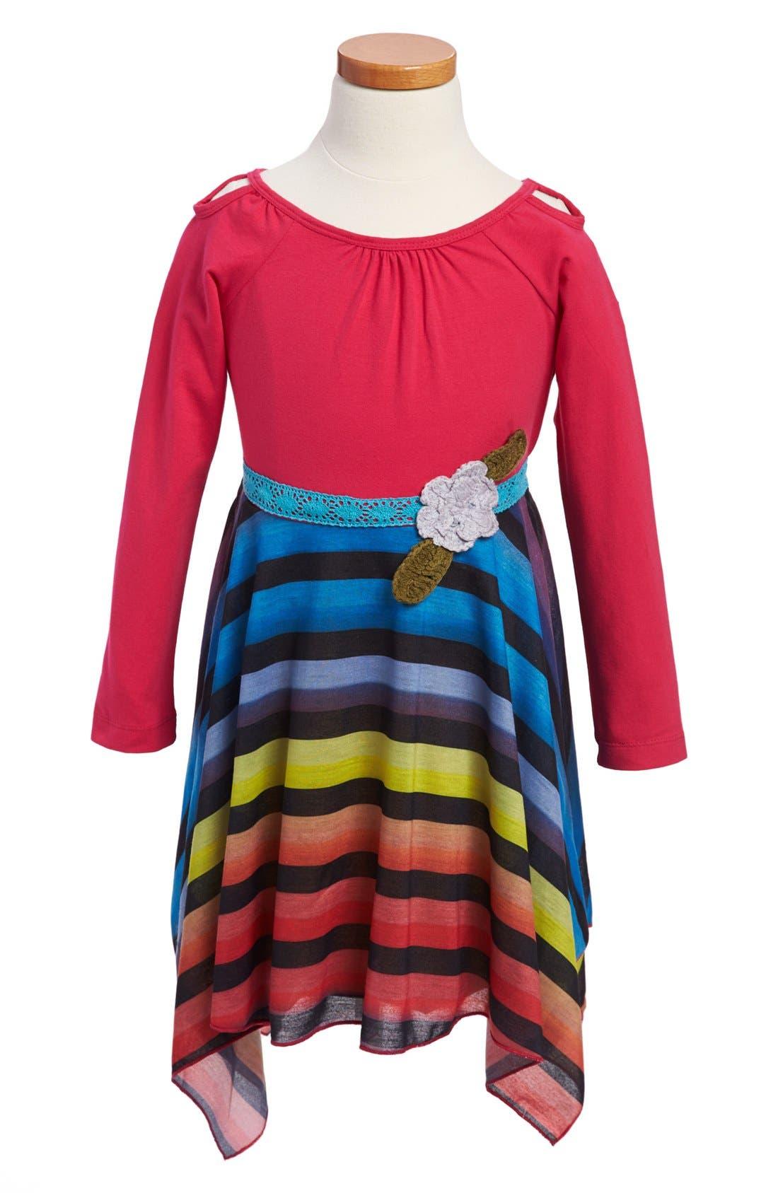 Alternate Image 1 Selected - Ella and Lulu Kidswear 'Shark Bite' Stripe Dress (Little Girls & Big Girls)