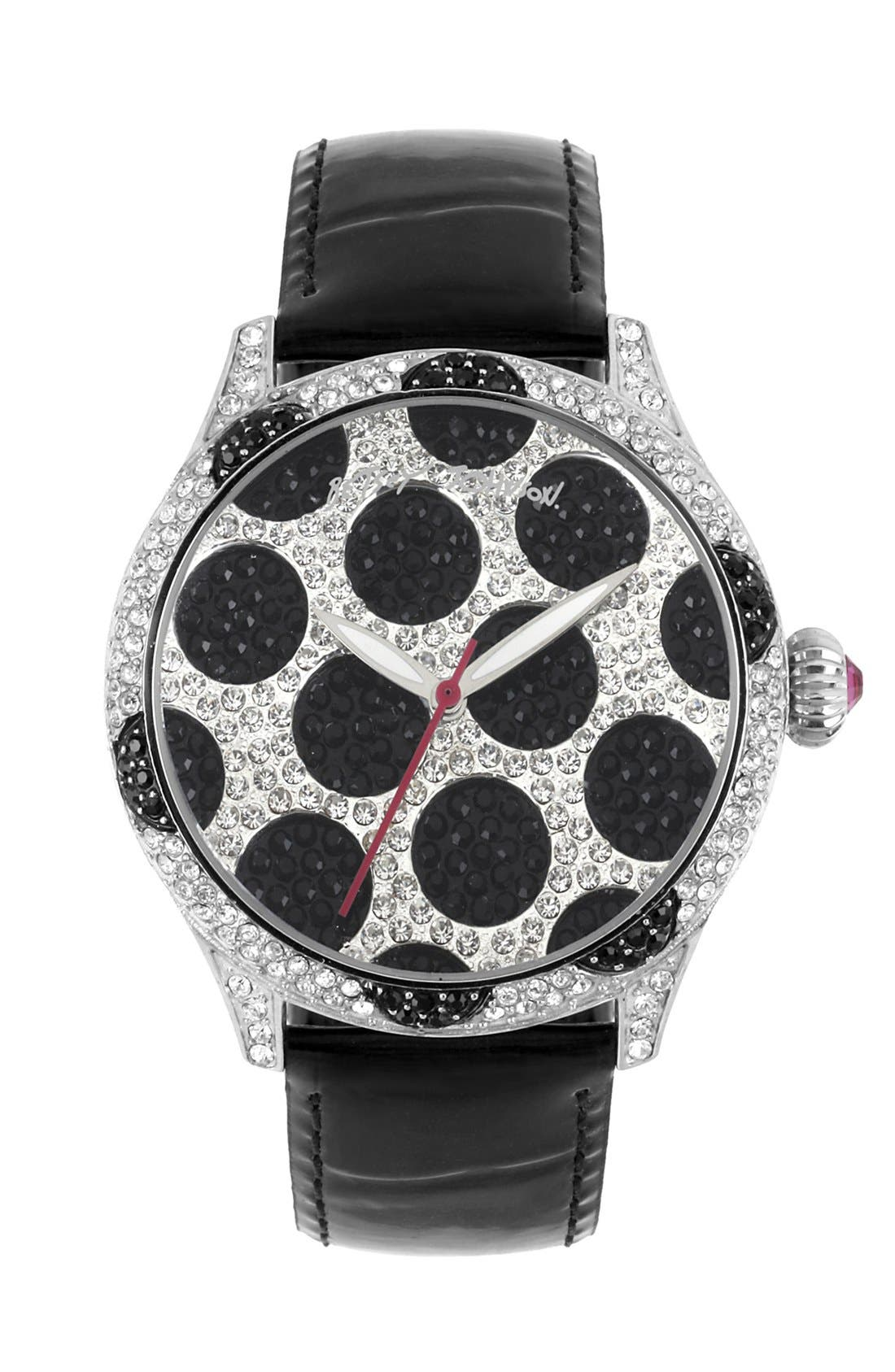 Main Image - Betsey Johnson Polka Dot Dial Watch, 41mm