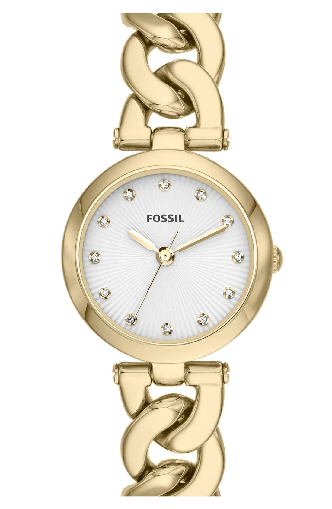 Alternate Image 1 Selected - Fossil 'Olive' Chain Link Bracelet Watch, 28mm
