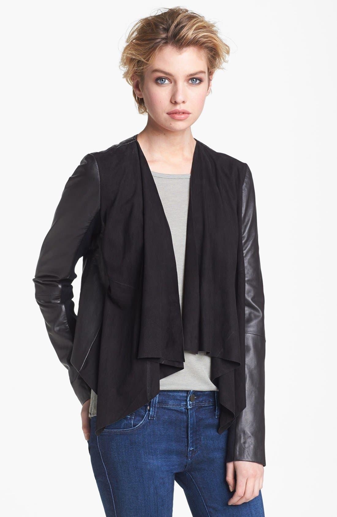 Alternate Image 1 Selected - Hinge® Draped Suede & Leather Jacket