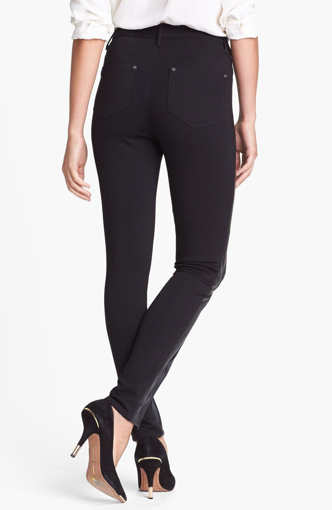 Alternate Image 2  - Two by Vince Camuto Faux Leather & Ponte Skinny Pants