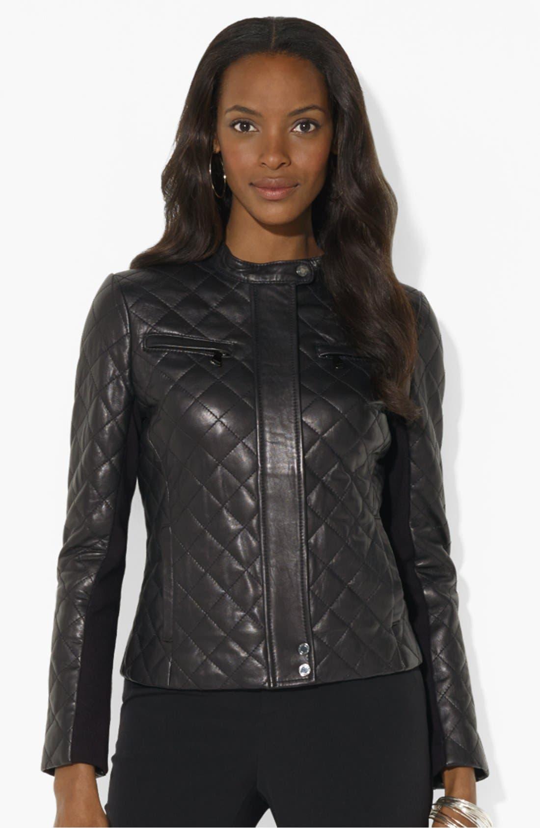 Alternate Image 1 Selected - Lauren Ralph Lauren Quilted Leather Moto Jacket
