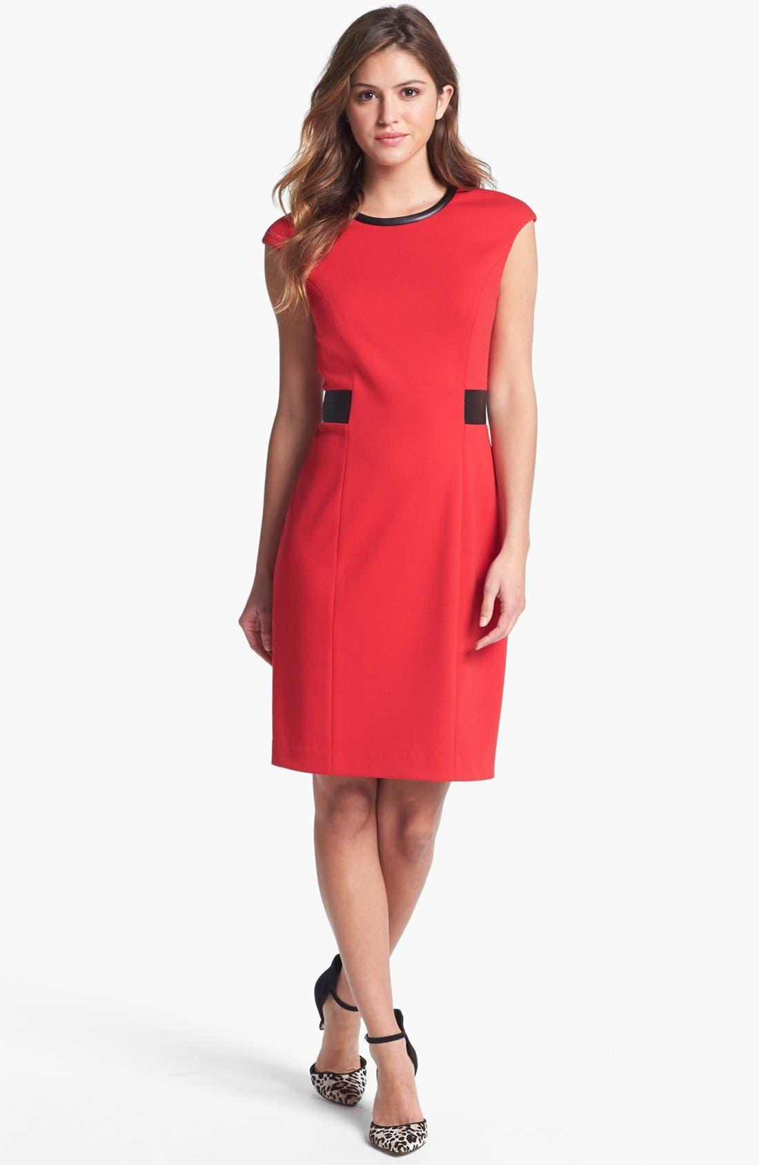 Main Image - Calvin Klein Faux Leather Trim Ponte Sheath Dress (Petite)