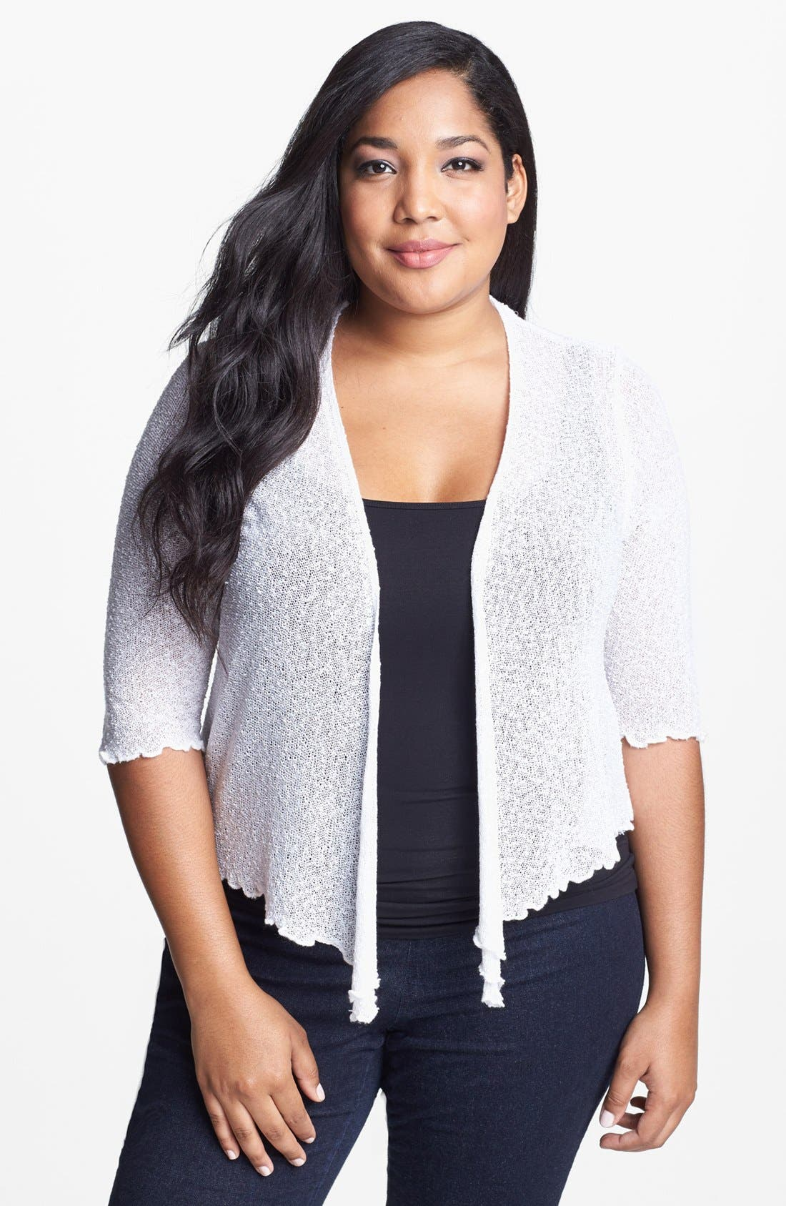 Main Image - Evans Popcorn Knit Shrug (Plus Size)