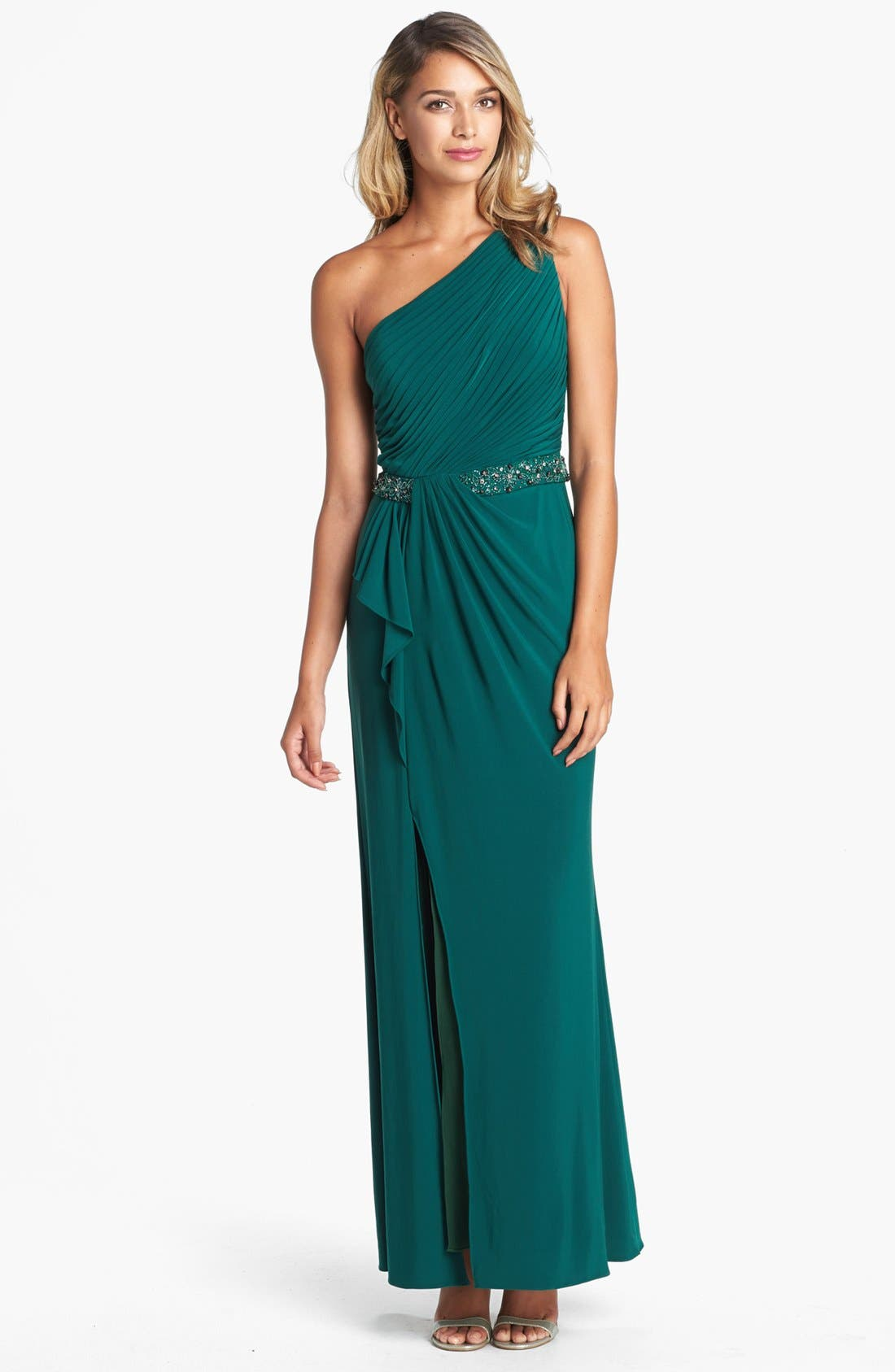 Main Image - JS Boutique Beaded Waist One-Shoulder Jersey Gown