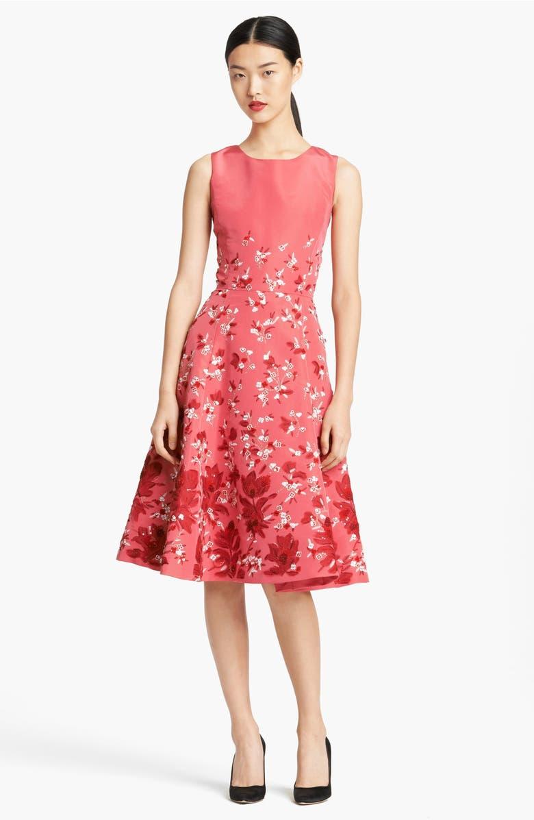 Oscar de la Renta Floral Embroidered Silk Faille Cocktail Dress ...