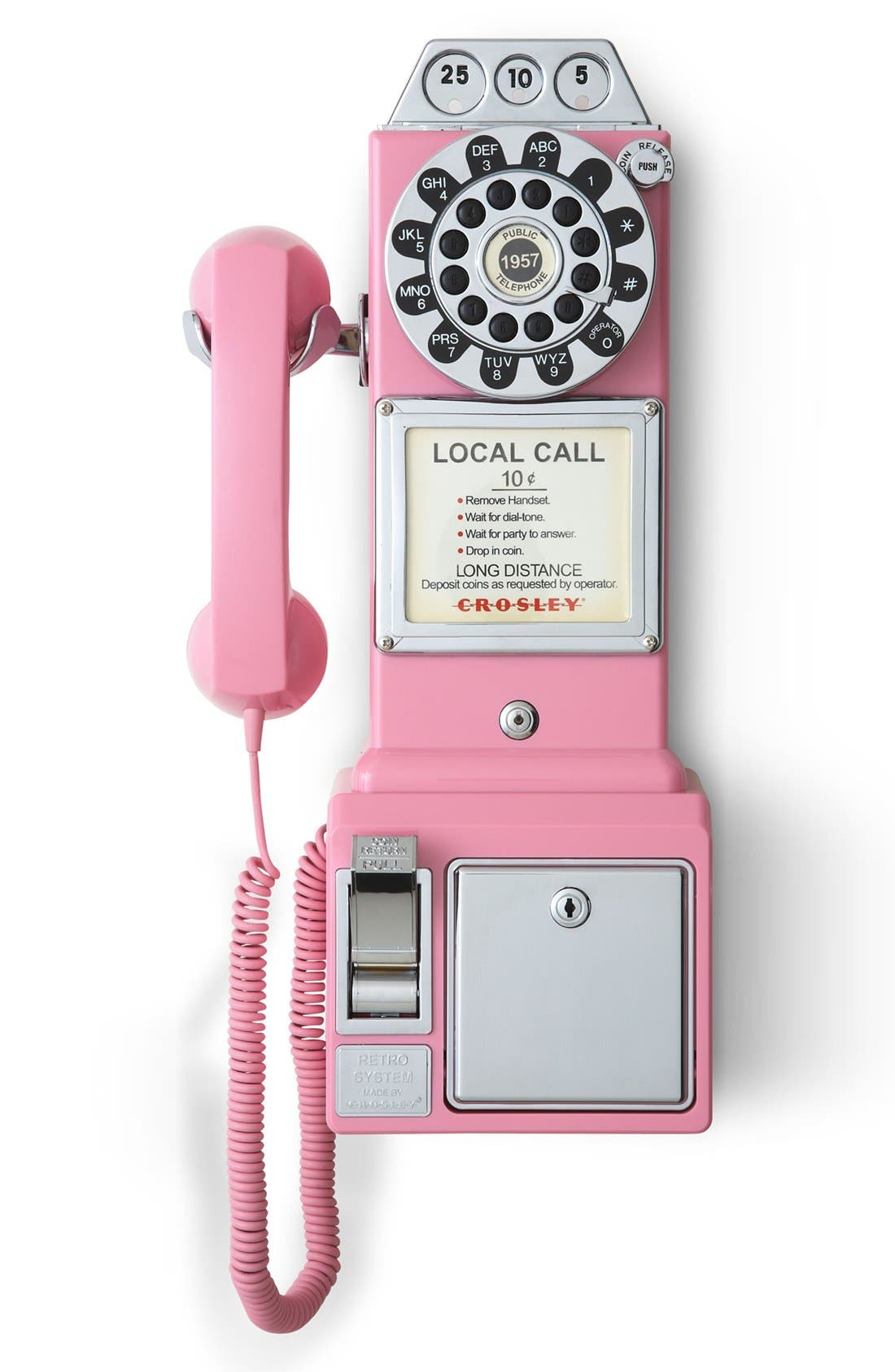 'Pay Phone' Wall Phone,                         Main,                         color, Pink