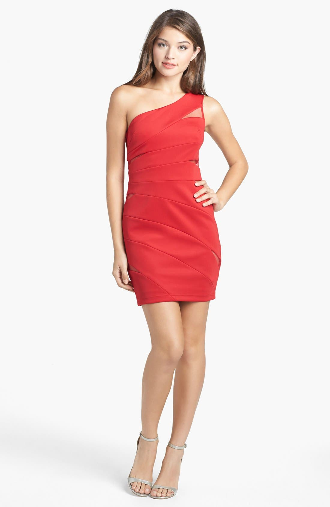 Main Image - Hailey Logan Mesh Inset One-Shoulder Body-Con Dress (Juniors)