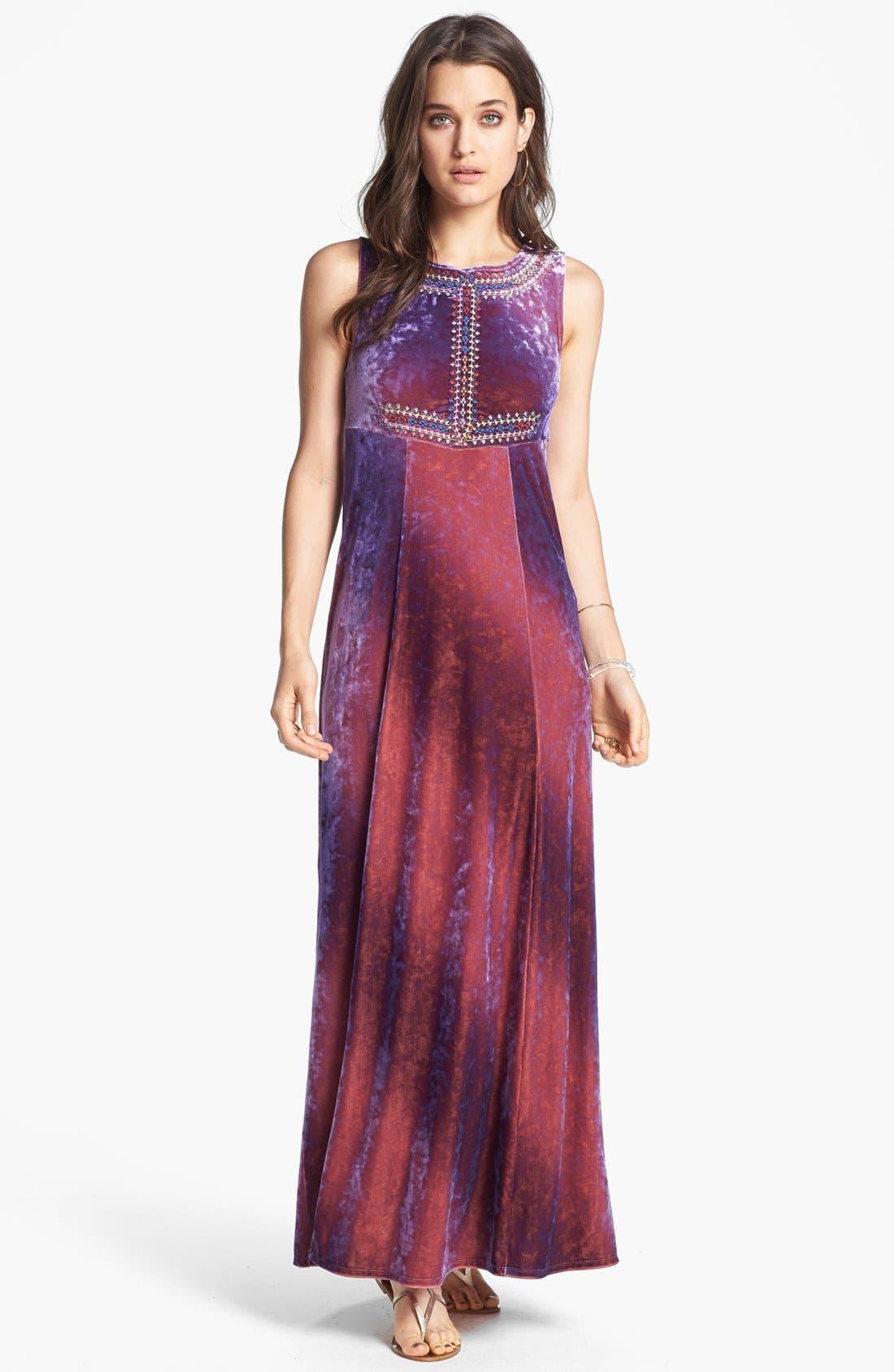 Main Image - Free People 'Sunset' Embroidered Crushed Velvet Maxi Dress