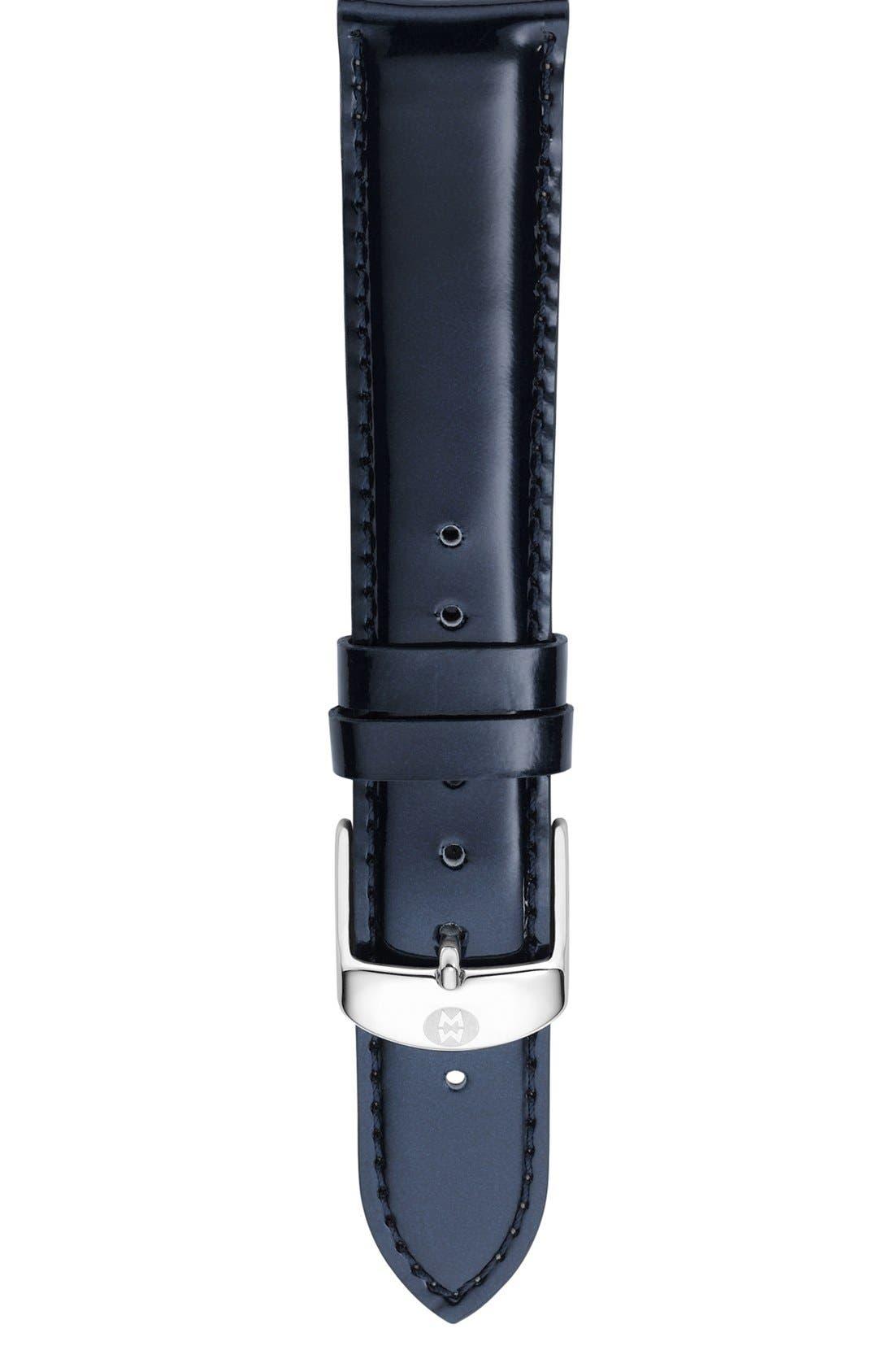 Main Image - MICHELE 'Deco Diamond' Watch Case & 18mm Patent Leather Strap