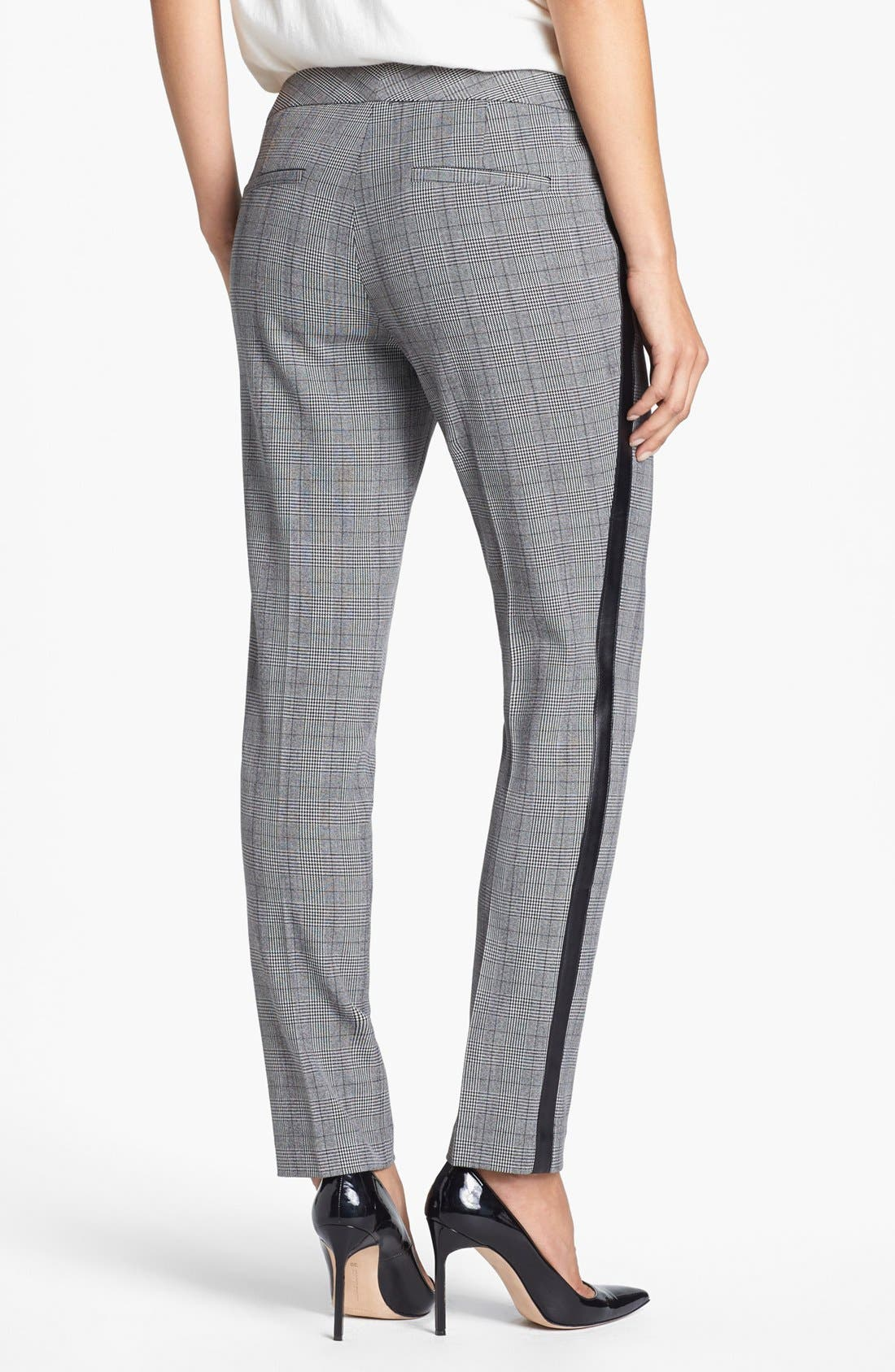 Alternate Image 2  - Vince Camuto Faux Leather Stripe Glen Plaid Trousers (Online Exclusive)
