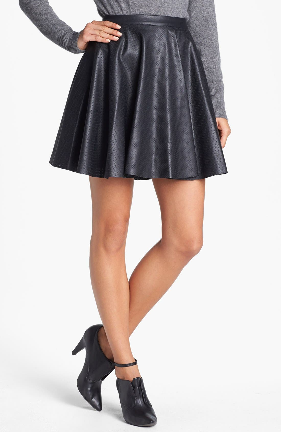 Perforated Faux Leather Skater Miniskirt,                         Main,                         color, Rich Black