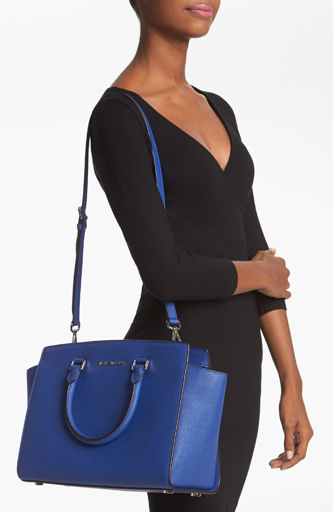 'Large Selma' Zip-Top Satchel,                             Alternate thumbnail 2, color,                             Sapphire