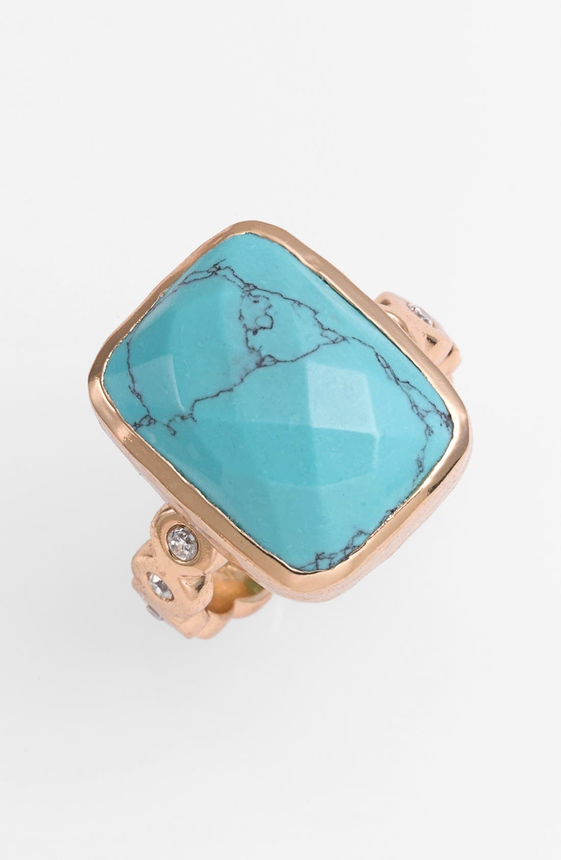'Electra' Drusy Ring,                             Main thumbnail 1, color,                             Gold/ Turquoise