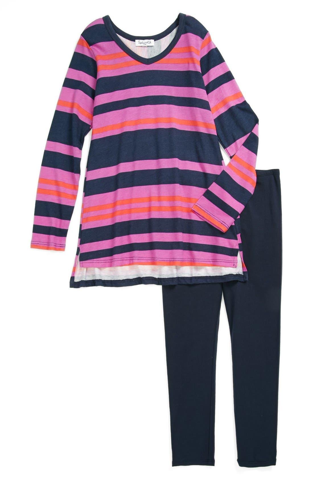 Alternate Image 1 Selected - Splendid Tunic & Leggings Set (Little Girls)