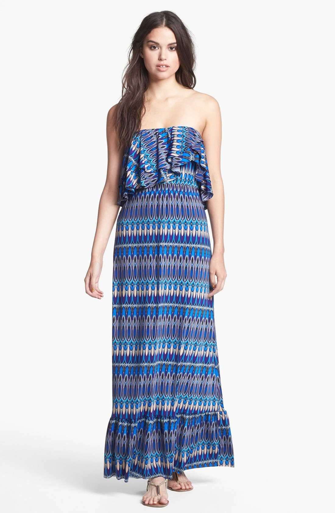 Alternate Image 1 Selected - Tbags Los Angeles Ruffled Zigzag Maxi Dress