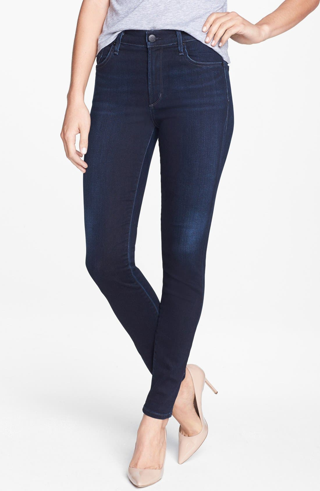 Main Image - A Gold E 'Sophie' High Rise Skinny Jeans (Midnight)