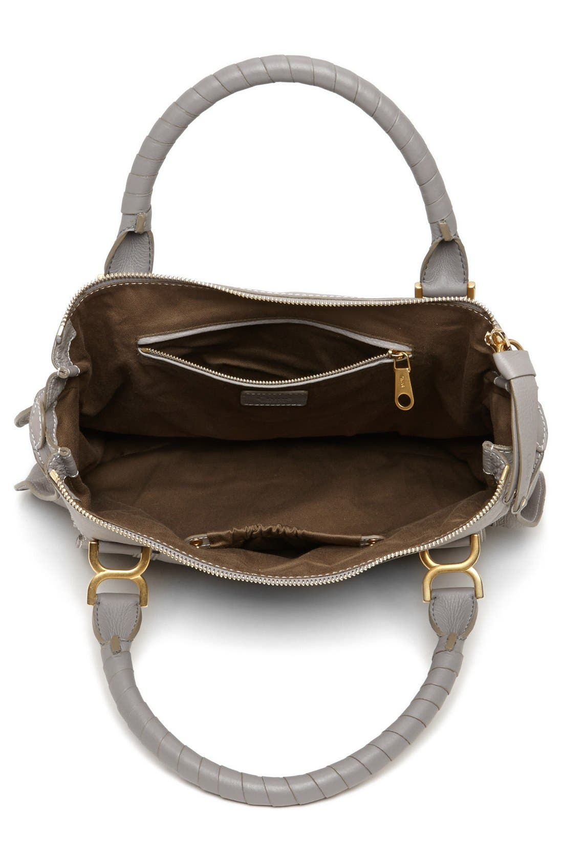 Large Marcie Leather Satchel,                             Alternate thumbnail 4, color,                             Cashmere Grey
