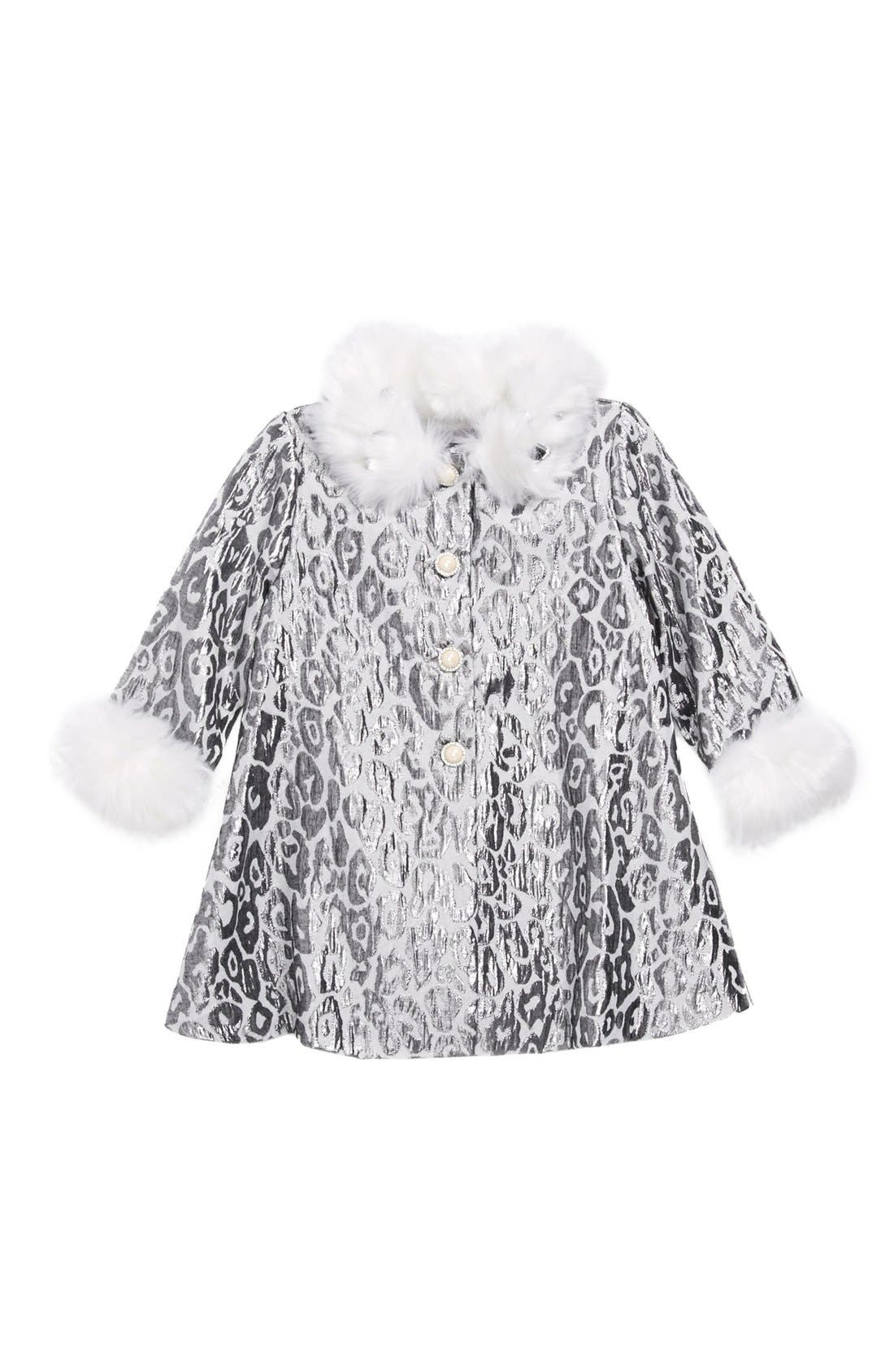 Main Image - Biscotti Leopard Print Jacket with Faux Fur Trim (Baby Girls)