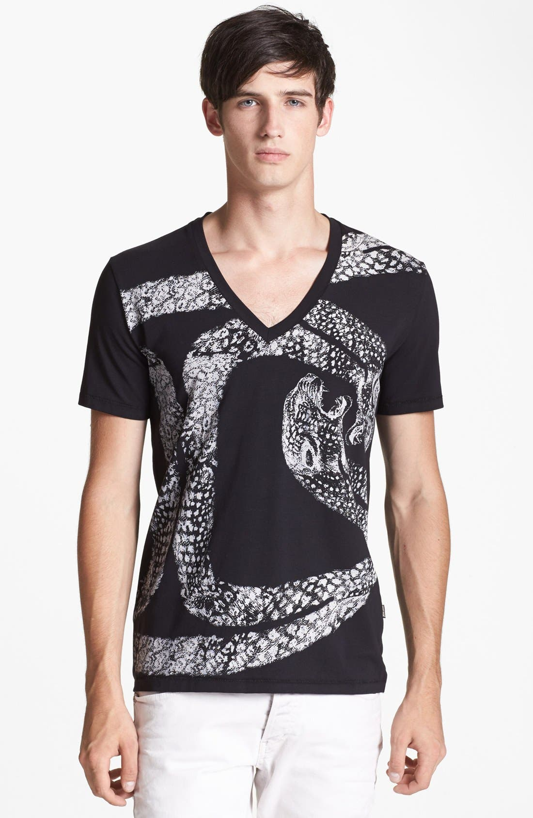 'Python' V-Neck T-Shirt,                             Main thumbnail 1, color,                             Black