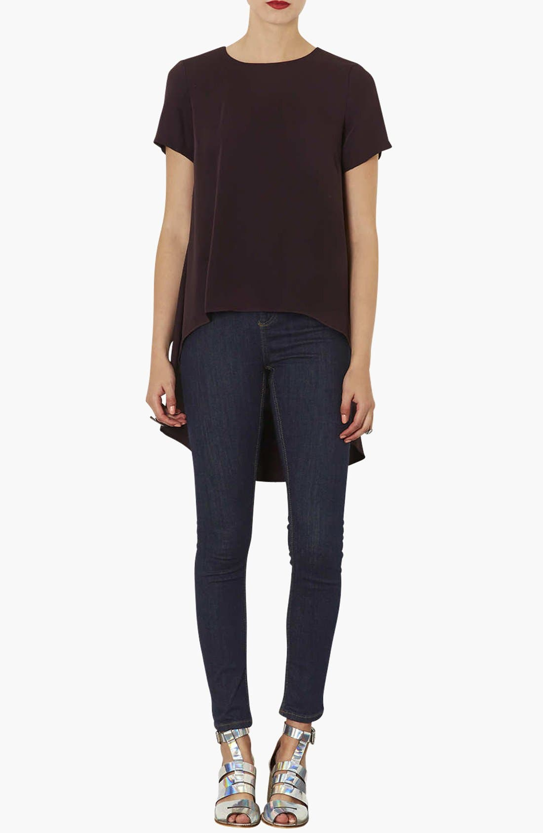 Alternate Image 4  - Topshop Moto 'Jamie' High Rise Skinny Jeans (Blue) (Regular, Short & Long)