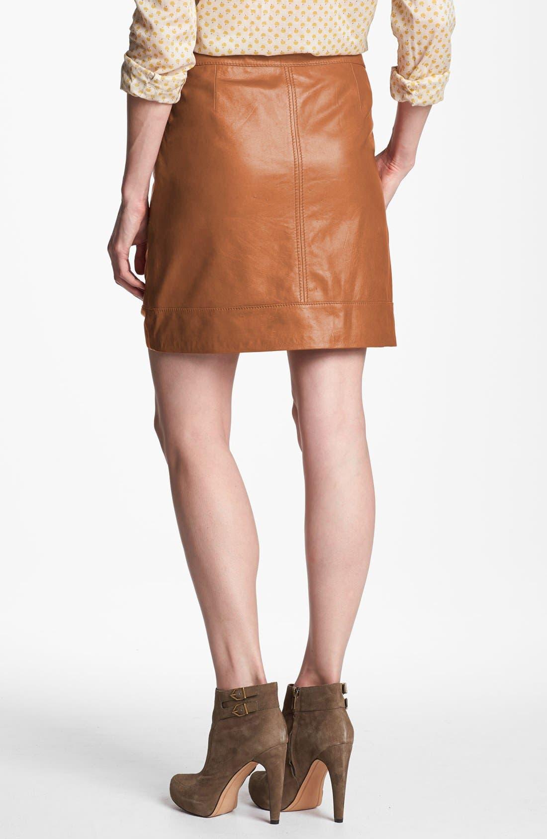 Alternate Image 2  - Halogen® Zip Pocket Leather Skirt (Petite)