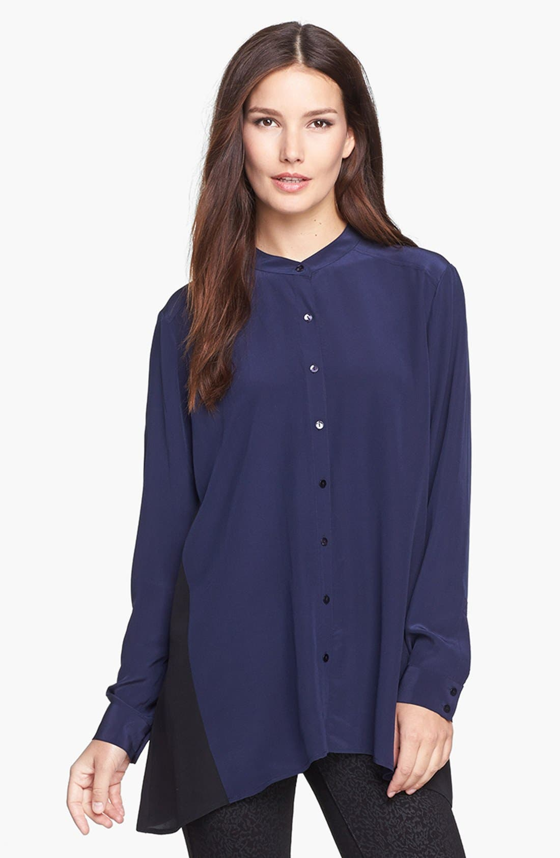 Alternate Image 1 Selected - Eileen Fisher Mandarin Collar Silk Shirt (Online Exclusive)