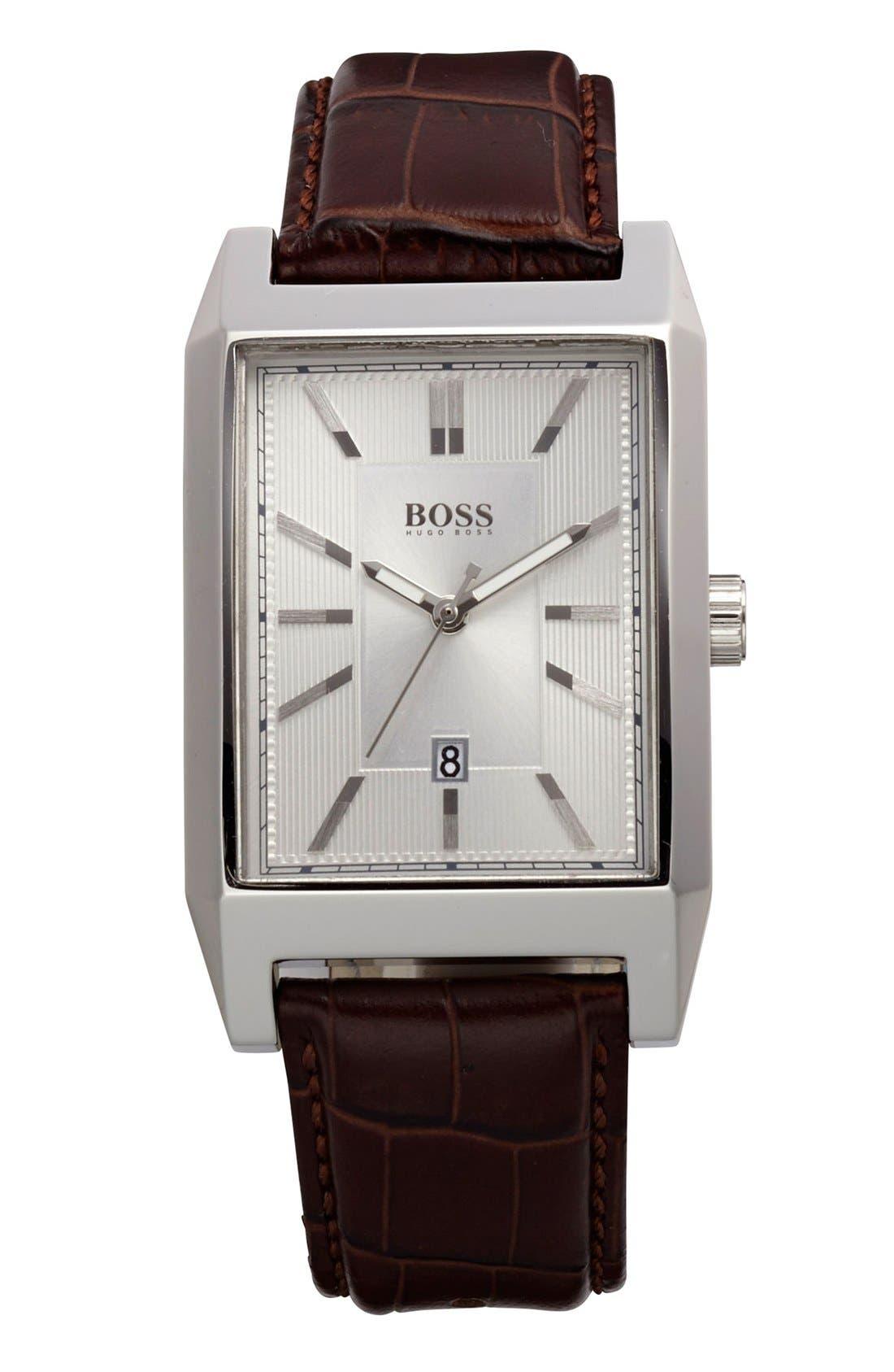Main Image - BOSS HUGO BOSS Rectangular Leather Strap Watch, 22mm x 33mm