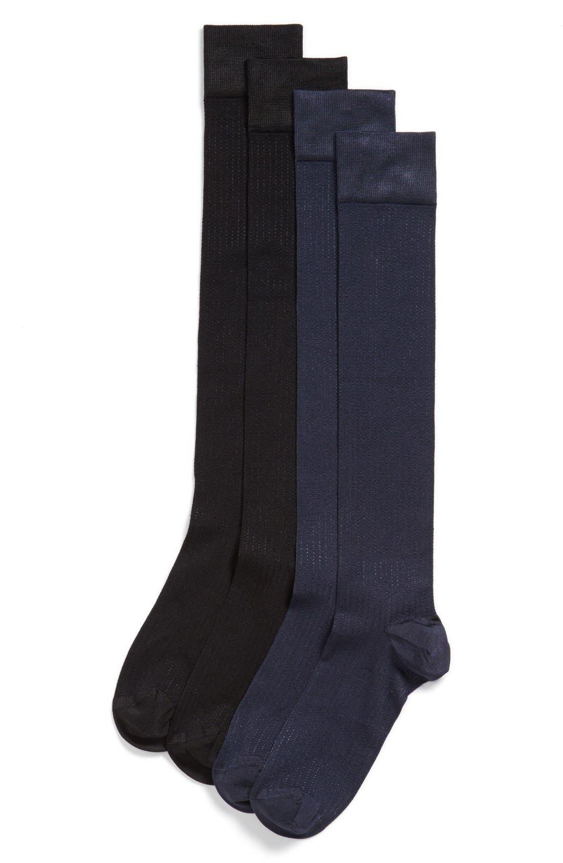 Alternate Image 1 Selected - Ralph Lauren 'Vertical Shine' Knee High Socks