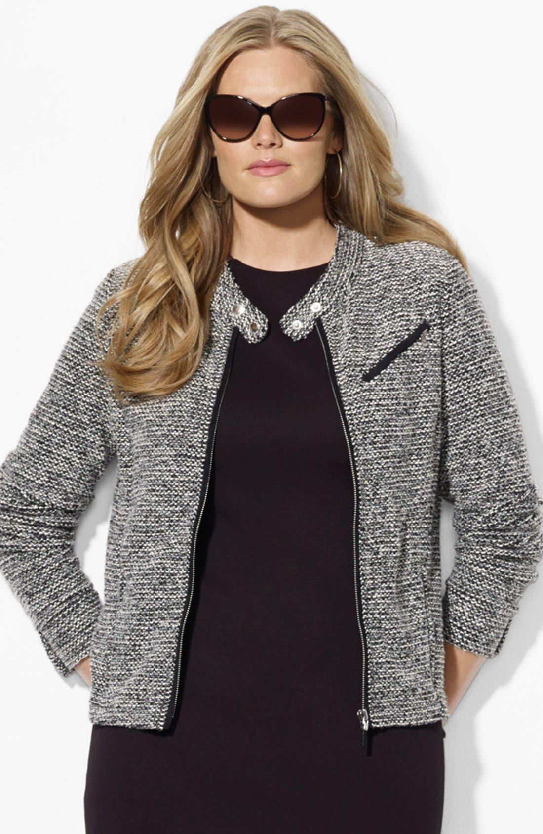 Main Image - Lauren Ralph Lauren Zip Front Cardigan (Plus Size)