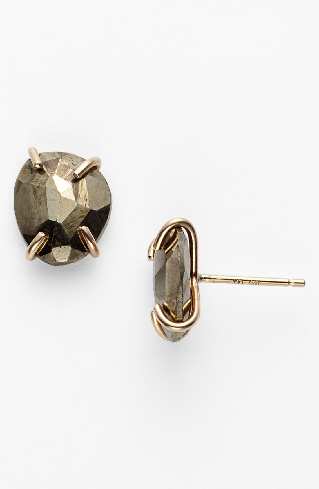 Stone Stud Earrings,                         Main,                         color, Pyrite/ Yellow Gold