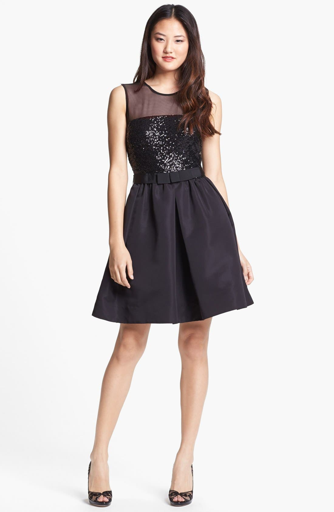 Alternate Image 1 Selected - Taylor Dresses Mixed Media Fit & Flare Dress