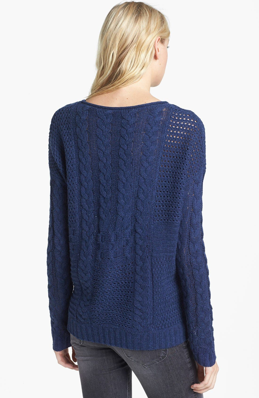 Alternate Image 2  - Velvet by Graham & Spencer Patchwork Cable Sweater