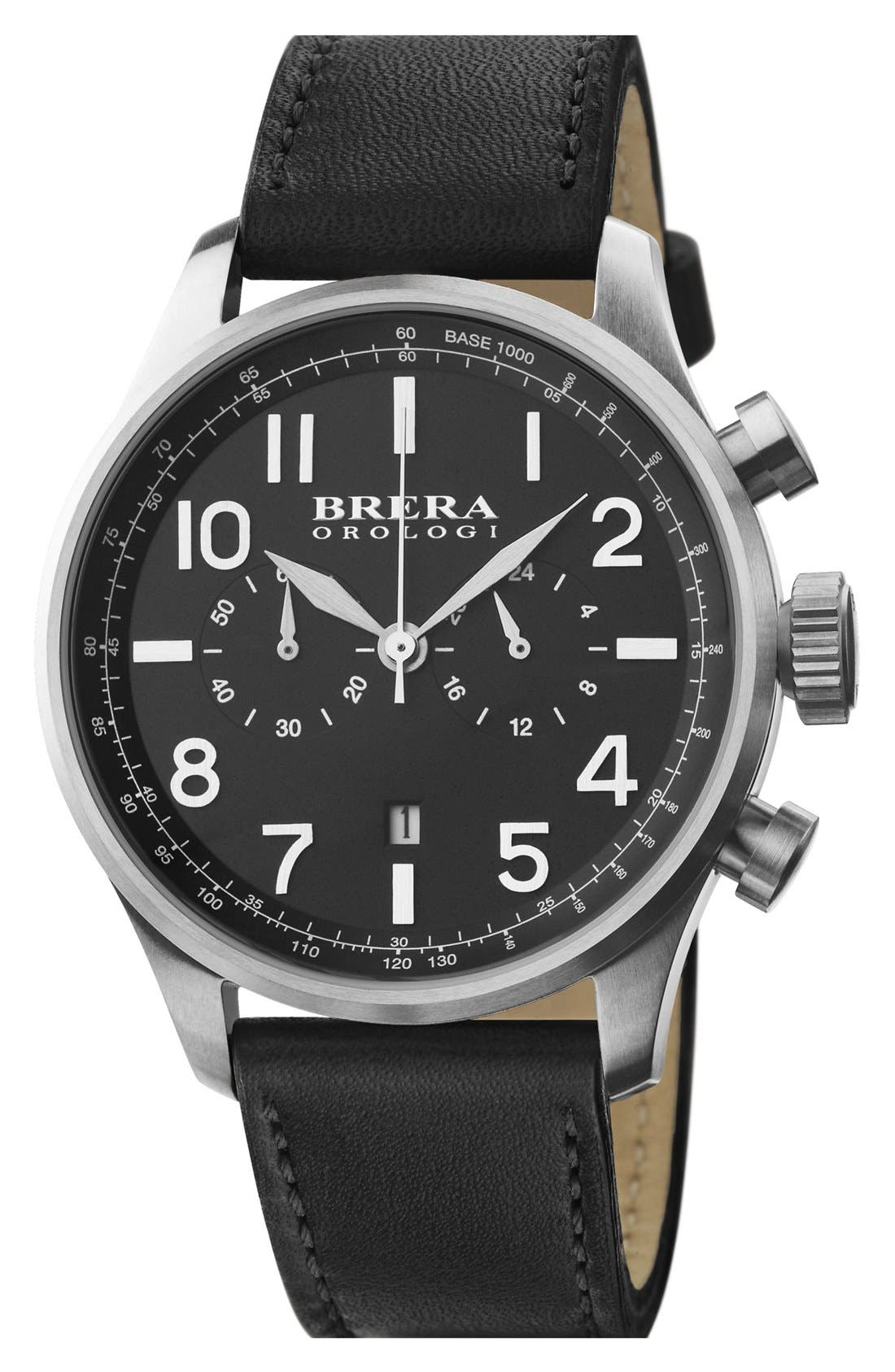 Alternate Image 1 Selected - Brera 'Classico' Chronograph Leather Strap Watch, 44mm