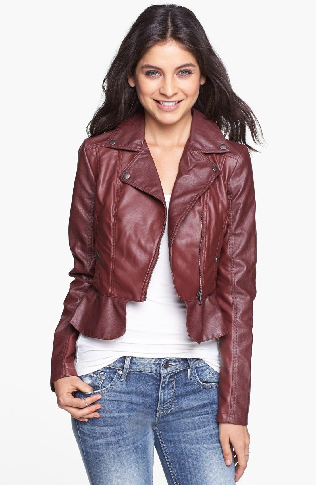 Alternate Image 1 Selected - Collection B Faux Leather Peplum Moto Jacket (Juniors)