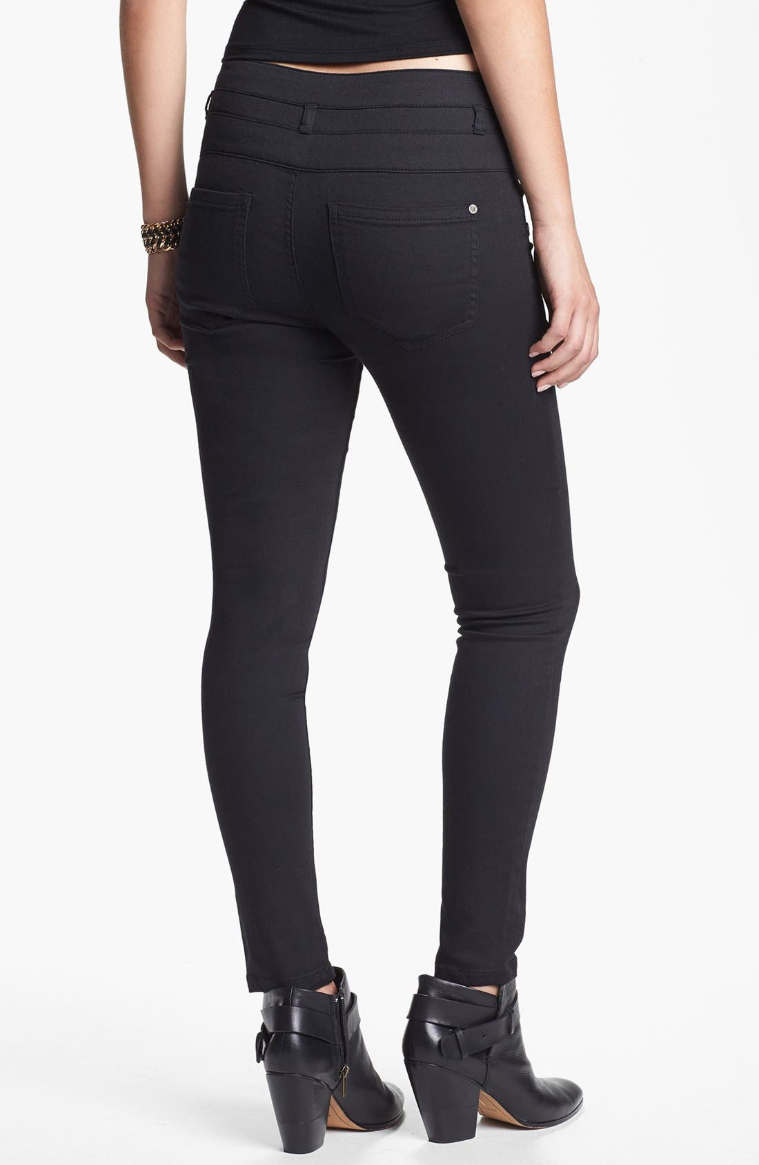 Alternate Image 2  - Fire Three Button High Waist Denim Leggings (Juniors)