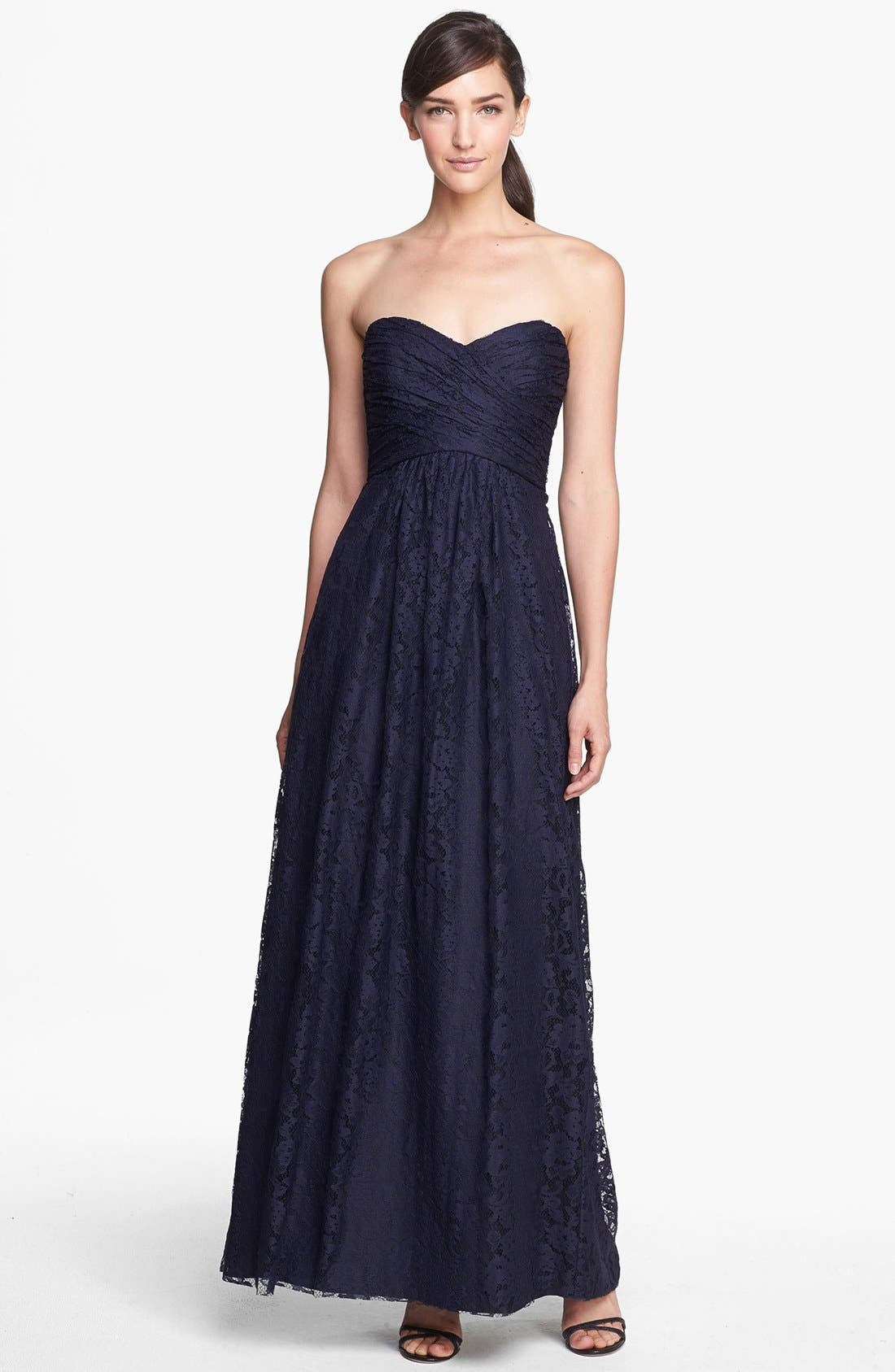AMSALE Pleated Lace Sweetheart Strapless Gown in Navy