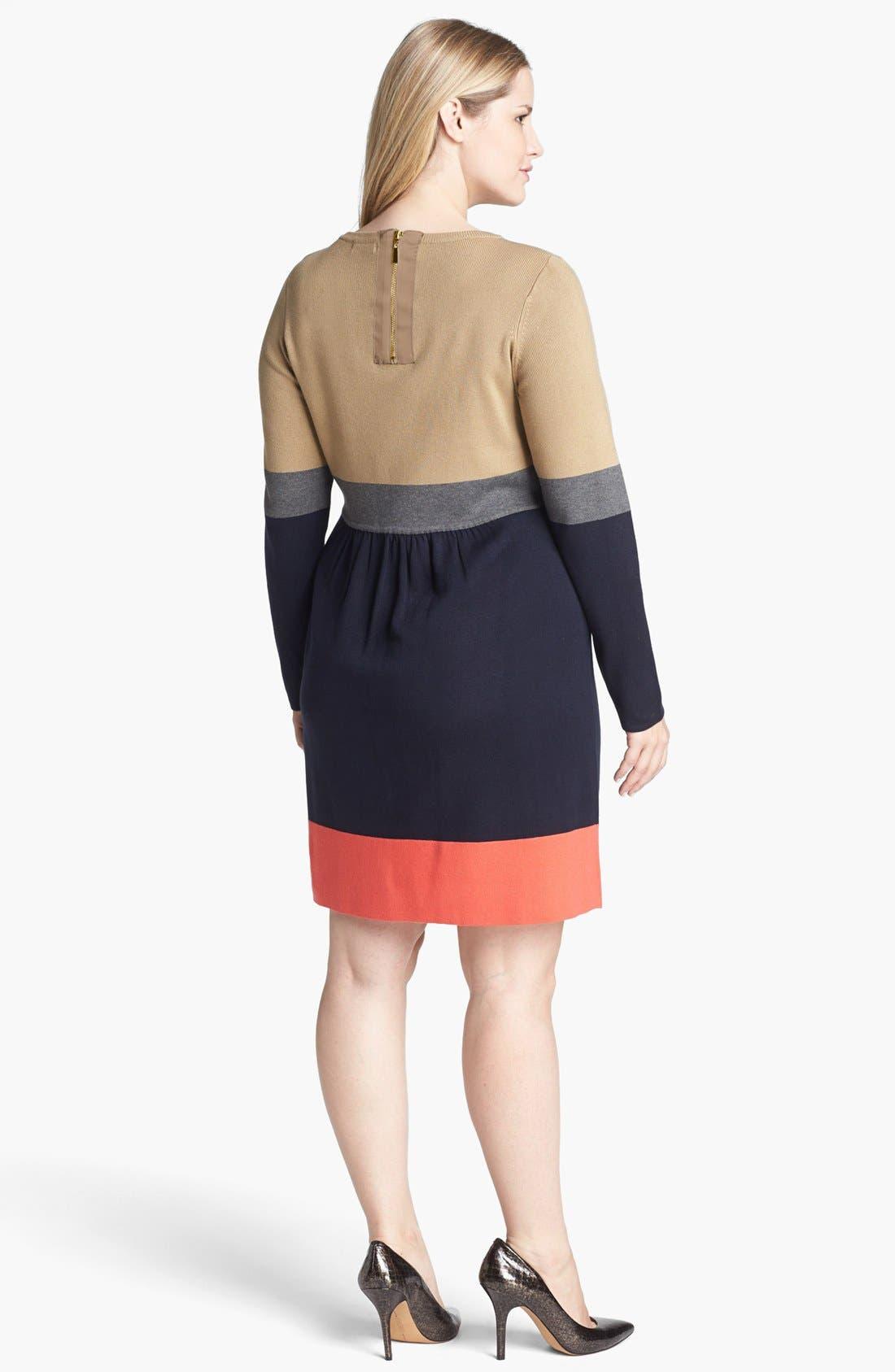 Alternate Image 2  - Eliza J Colorblock Sweater Dress (Plus Size)