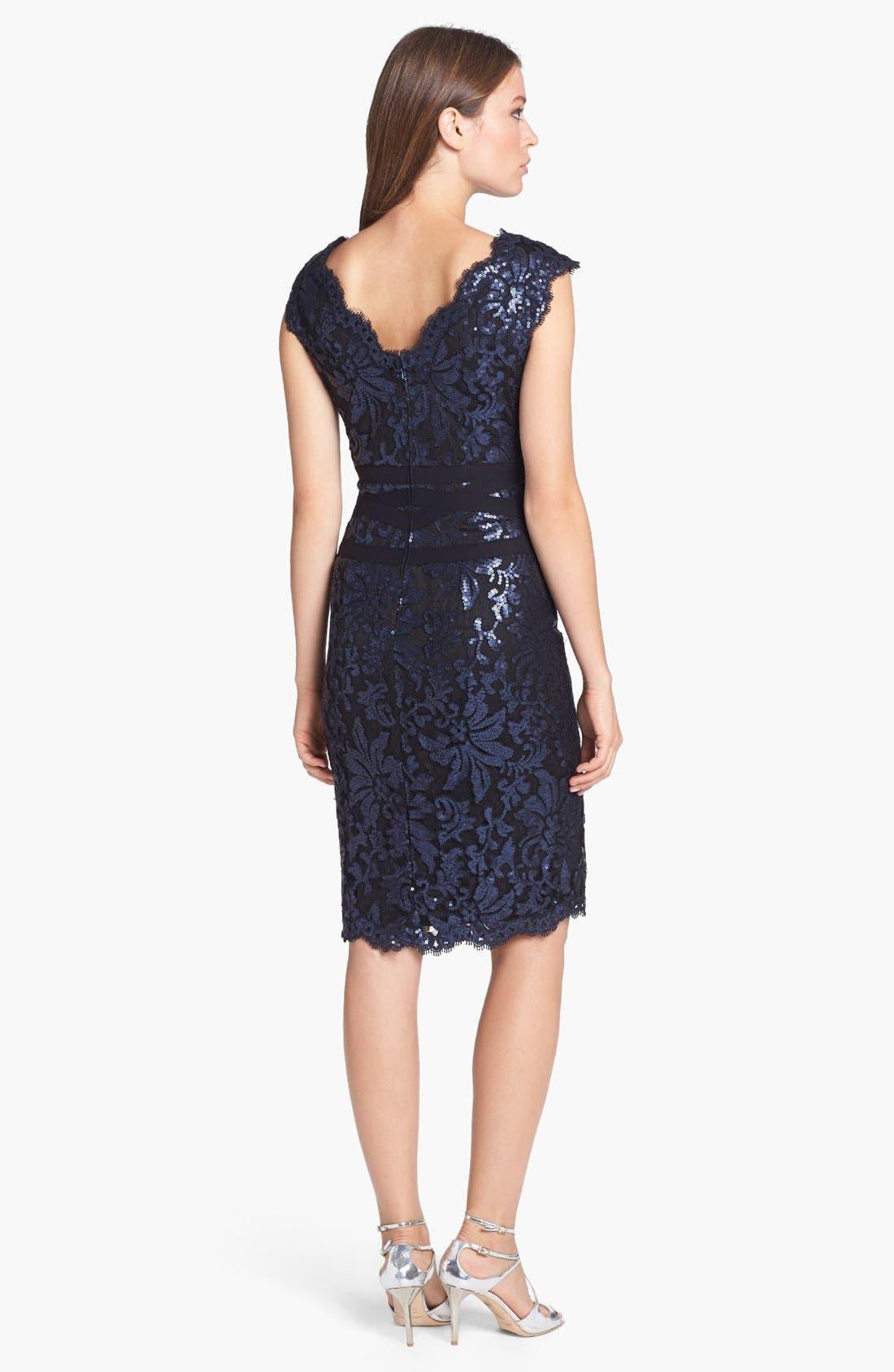 Alternate Image 3  - Tadashi Shoji Sequin Lace Sheath Dress (Regular & Petite)