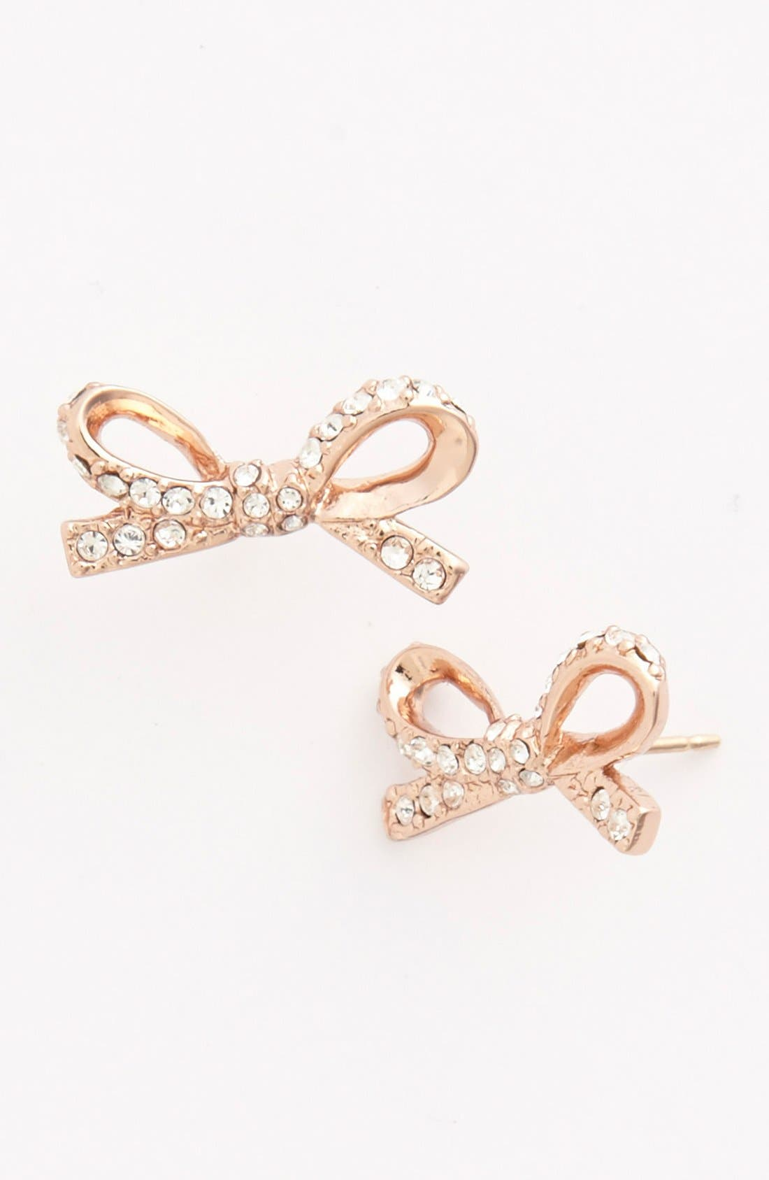 'skinny mini' bow stud earrings,                         Main,                         color, Rose Gold/ Clear Crystal