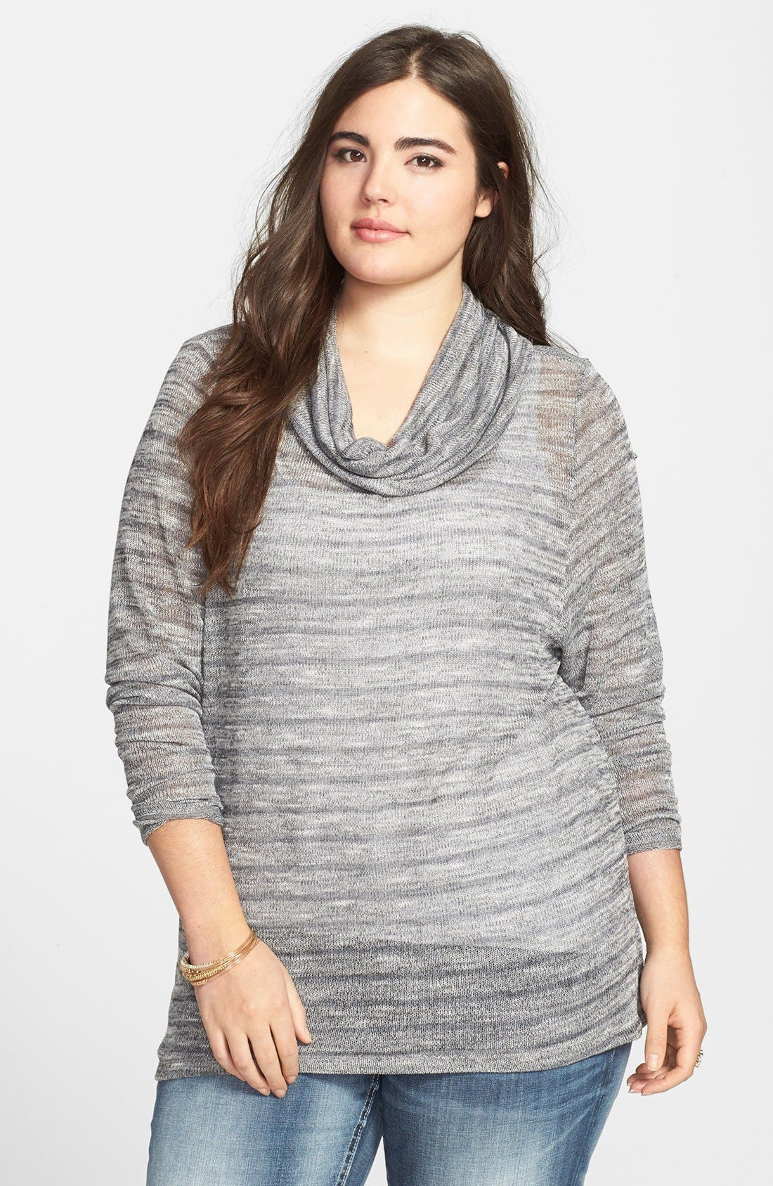 Alternate Image 1 Selected - Jessica Simpson 'Freeda Haatchi' Stripe Cowl Neck Sweater (Plus Size)