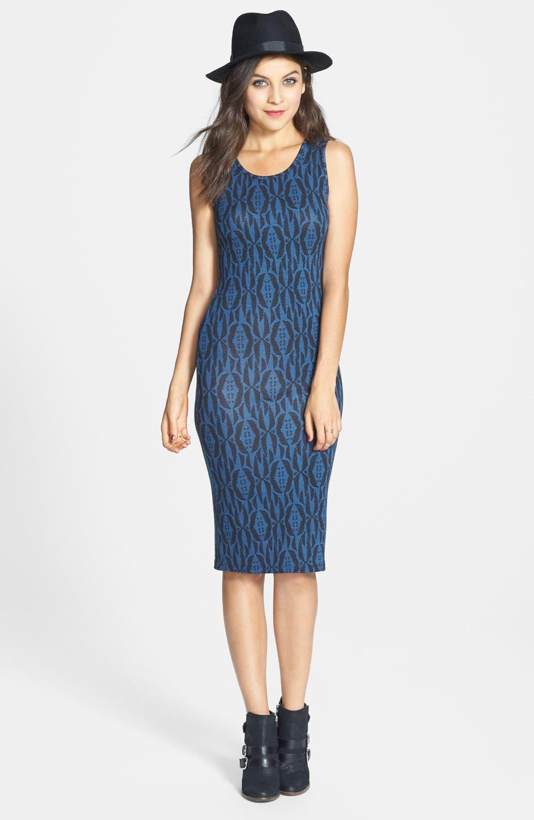 Alternate Image 1 Selected - Lush Print Body-Con Midi Dress (Juniors)