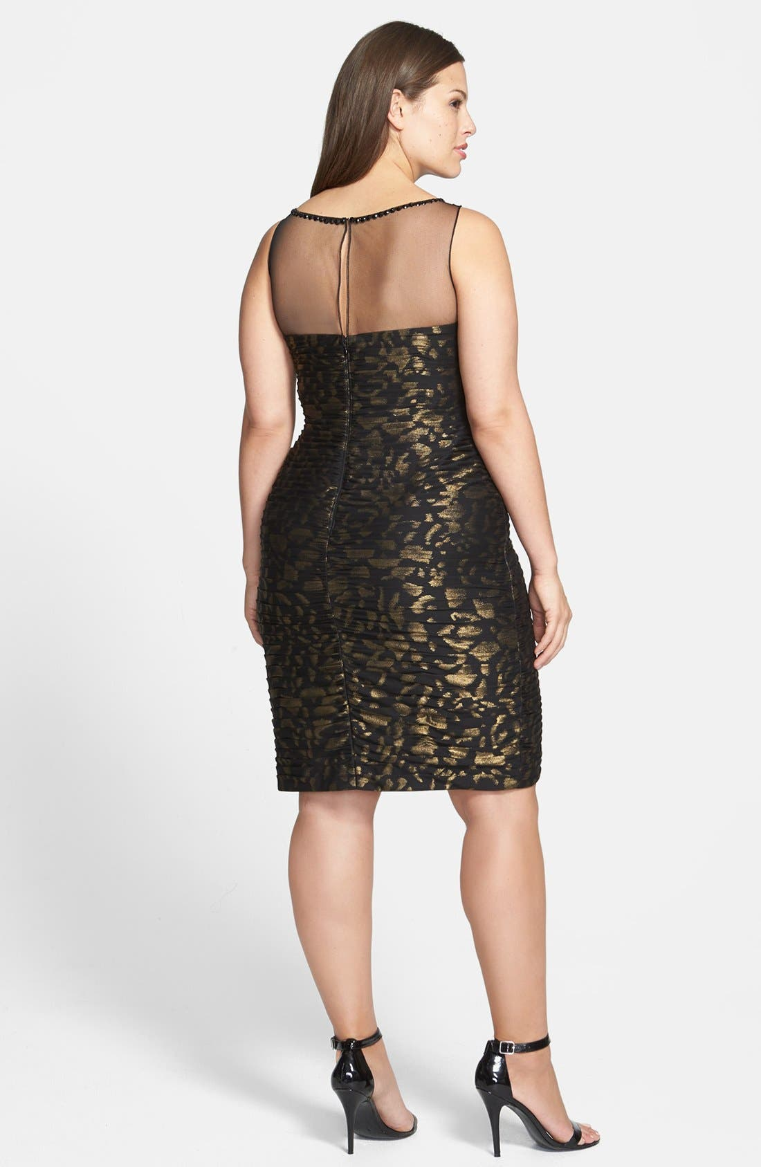 Alternate Image 2  - Adrianna Papell Metallic Pattern Shirred Sheath Dress (Plus Size)