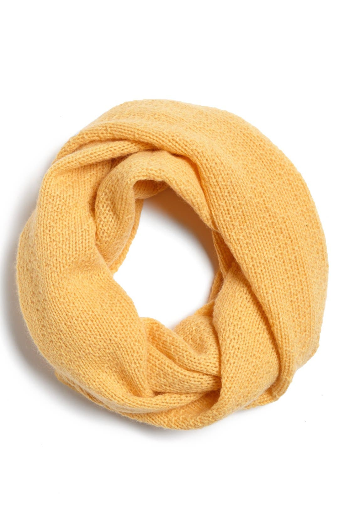 Pointelle Knit Cashmere Infinity Scarf,                             Main thumbnail 1, color,                             Yellow