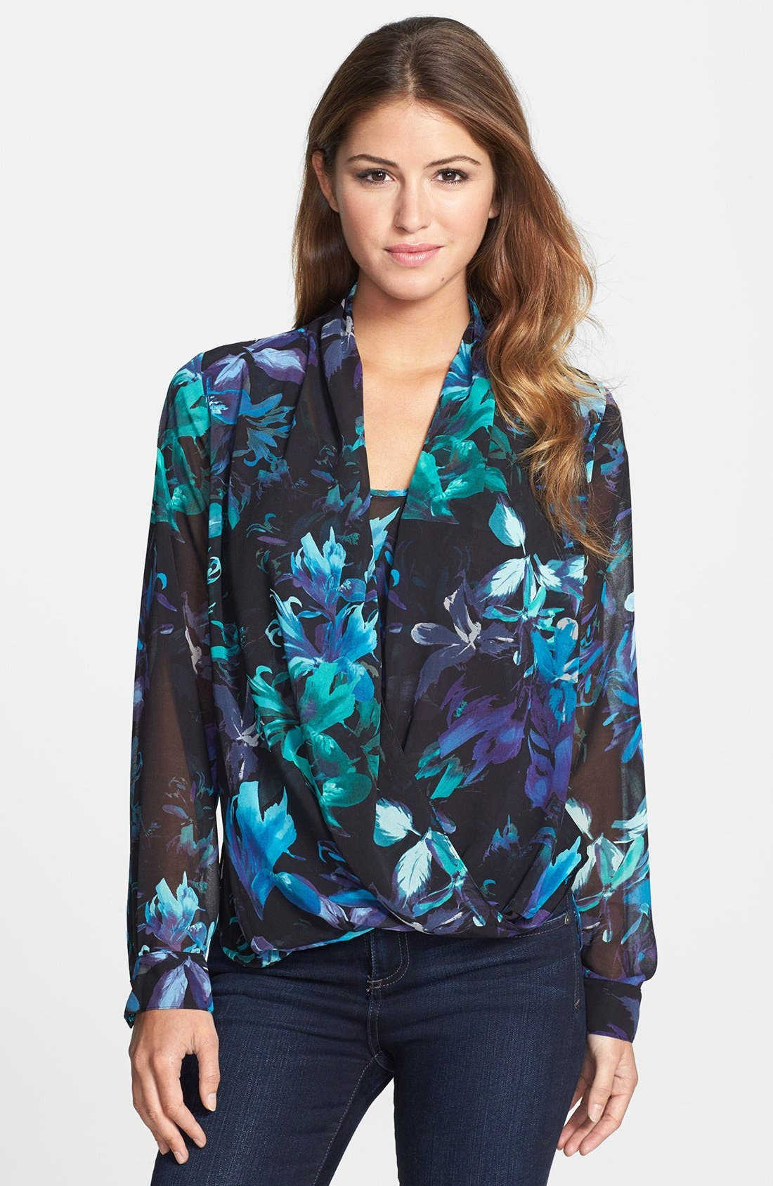 Alternate Image 1 Selected - Vince Camuto Floral Print Wrap Blouse (Online Only)