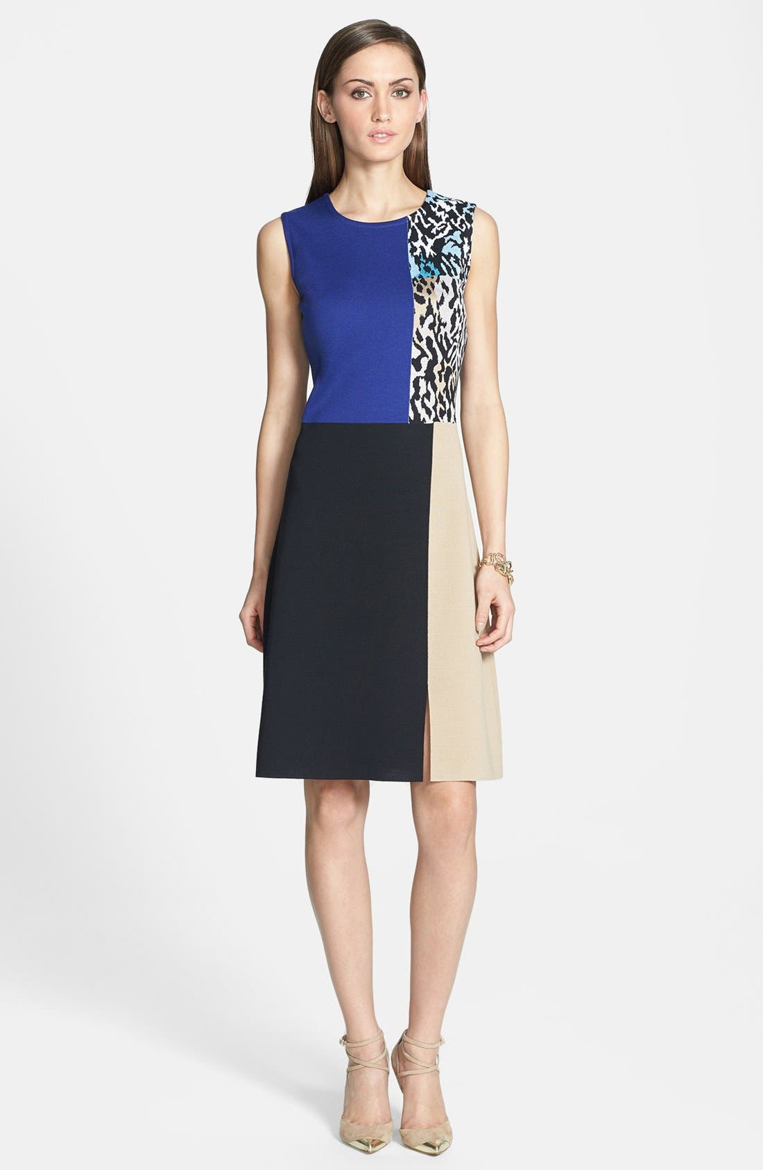 Main Image - St. John Collection Leopard Panel Colorblock Milano Knit Dress
